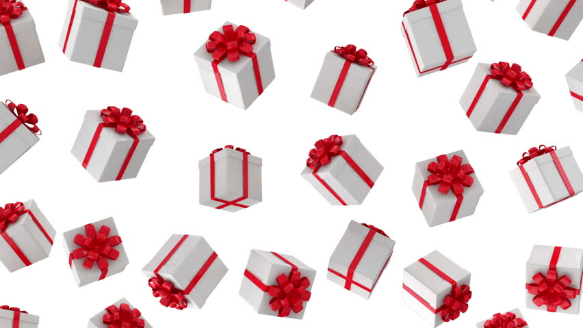 Animation of Falling Red Gift Boxes on white background. HQ Seamless Looping Video Clip with Alpha Channel