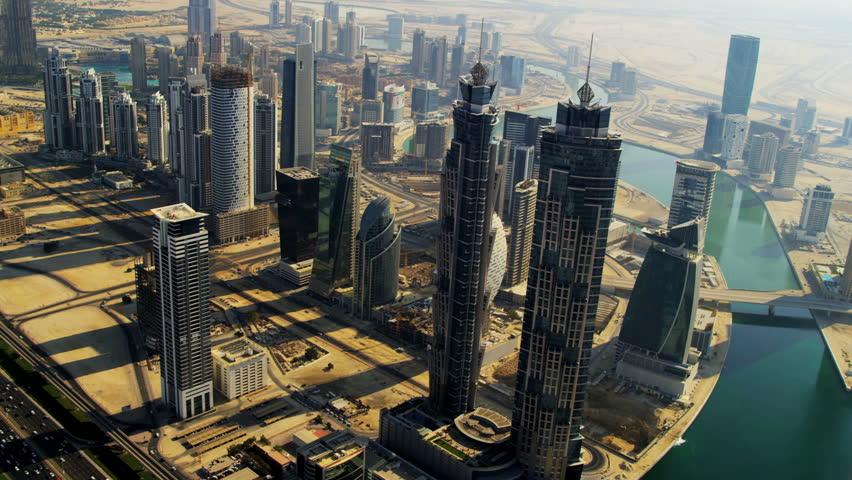 Aerial view Burj Khalifa, Dubai Creek Sheikh Zayed Road, and downtown Dubai, UAE, RED EPIC, 4K, UHD, Ultra HD resolution