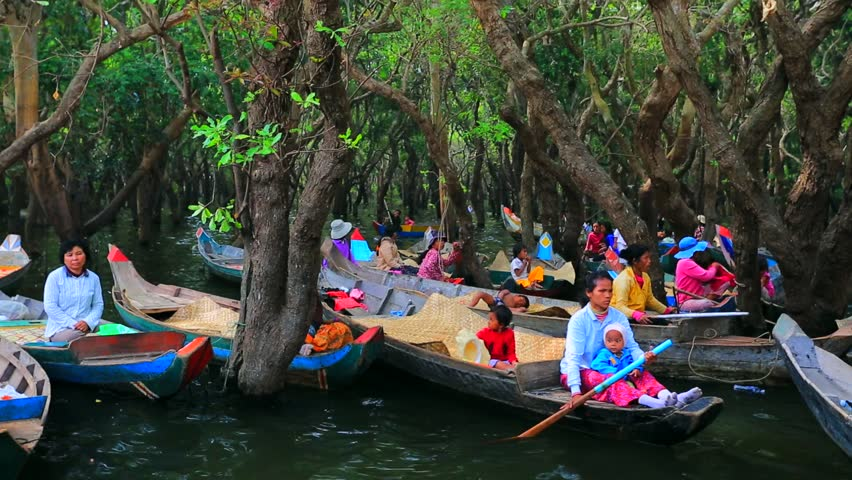 TONLE SAP, CAMBODIA - CIRCA DECEMBER: Taxi boats for tourists , on circa December, 2013, Tonle Sap, Cambodia. The Tonle Sap is the largest freshwater lake in South East Asia - HD stock footage clip