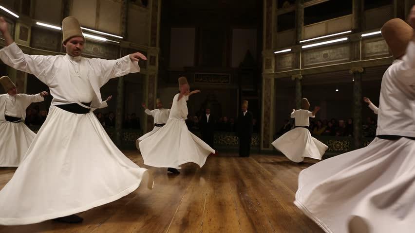 ISTANBUL, TURKEY - DECEMBER 17: Sufi whirling dervish (Semazen) dances on December 17, 2013 in Istanbul, Turkey.  - HD stock video clip