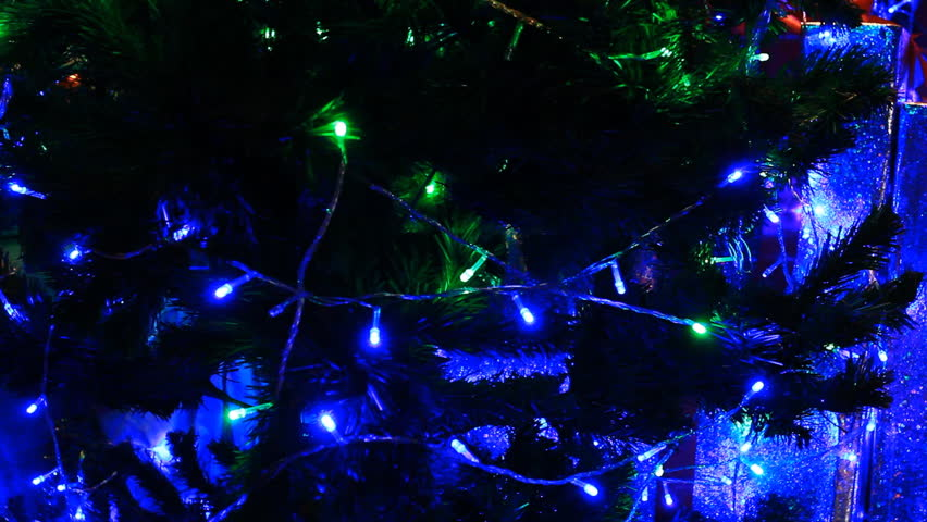 Christmas Tree Green With Blue Light Moving   HD Stock Footage Clip