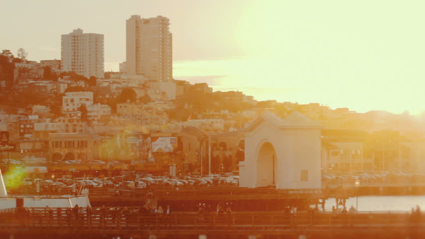 Wide shot of downtown San Francisco. Fisherman's Wharf.