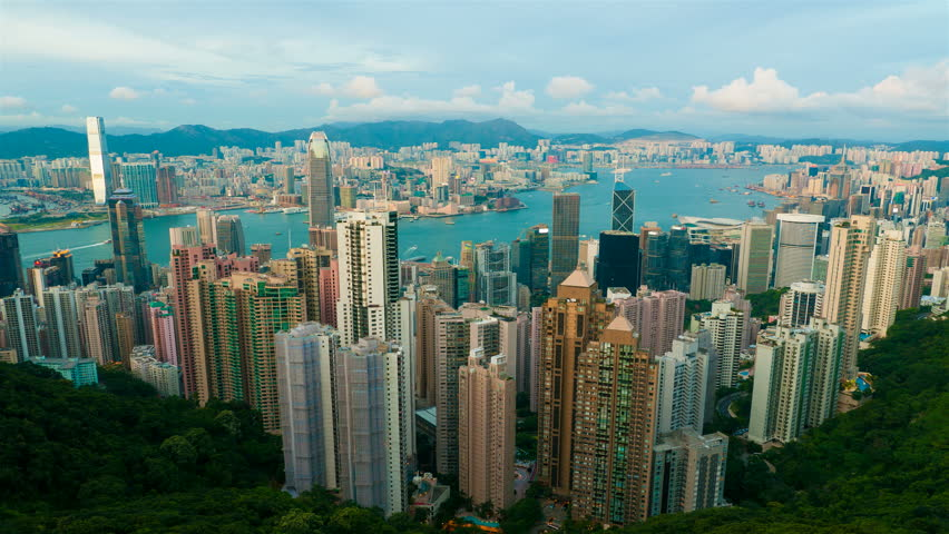 Sunset at Hong Kong from Victoria peak. 4k UHD, timelapse | Shutterstock HD Video #5359241