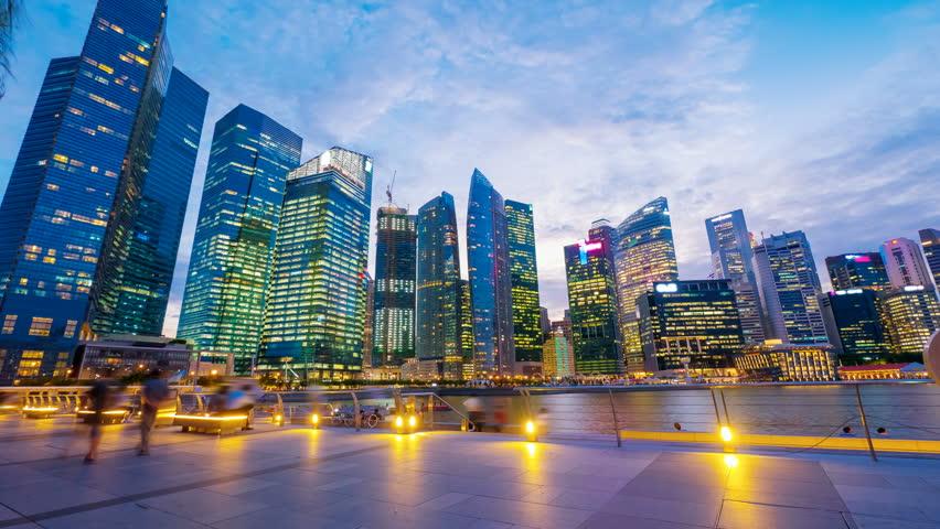 Singapore, Sunset at Marina bay quay. 4k UHD, hyperlapse - 4K stock video clip