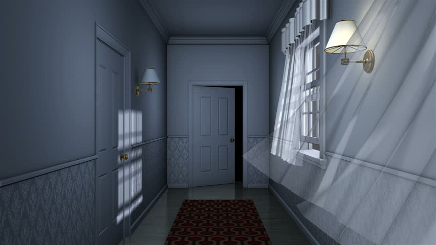 Scary house hallway with door opening high definition for Hallway photos