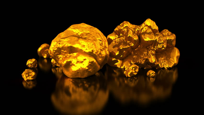 Gold mining native gold golden nuggets on black background business 3d animation stock - Mining images hd ...