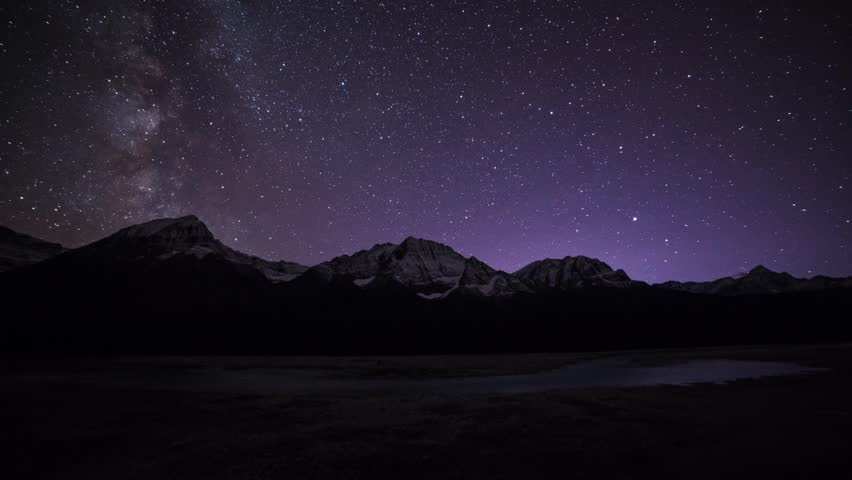 Time lapse night view of Milky way at Jasper National Park