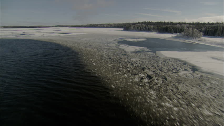 Aerial Footage Arctic Tundra. Aerial footage of the vast arctic tundra. Snow covered pine trees cover the landscape. An icy river flows through the tundra.