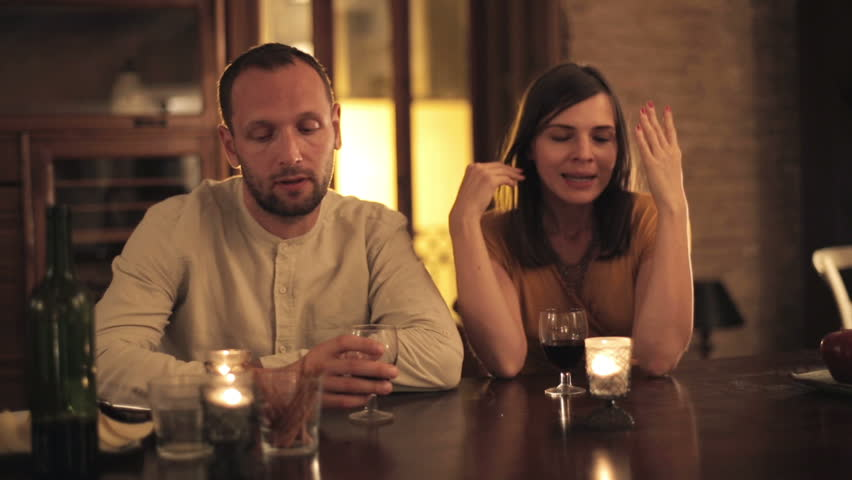 Bored young couple on bad date  - HD stock footage clip