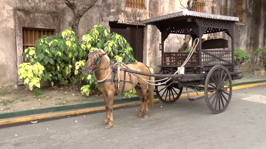 Old style horse drawn carriage at fort santiago manila for Vintage horseshoes for sale