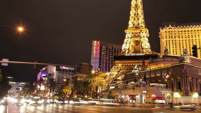 LAS VEGAS, NEVADA - JUNE 2011: 4k timelapse of the Eiffel tower lit up at night, in Paris. super high quality, 4k resolution (4096x2304). | Shutterstock HD Video #5453264