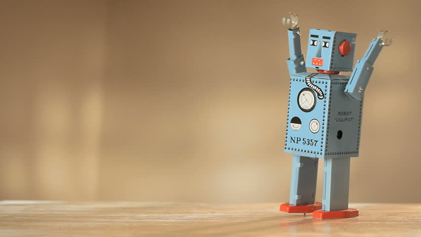 Vintage toy robot walking and falling down 1920x1080 hidef | Shutterstock HD Video #5453291