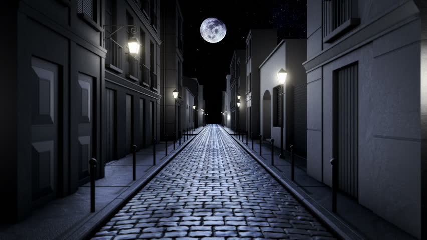 scary alley corridor at night