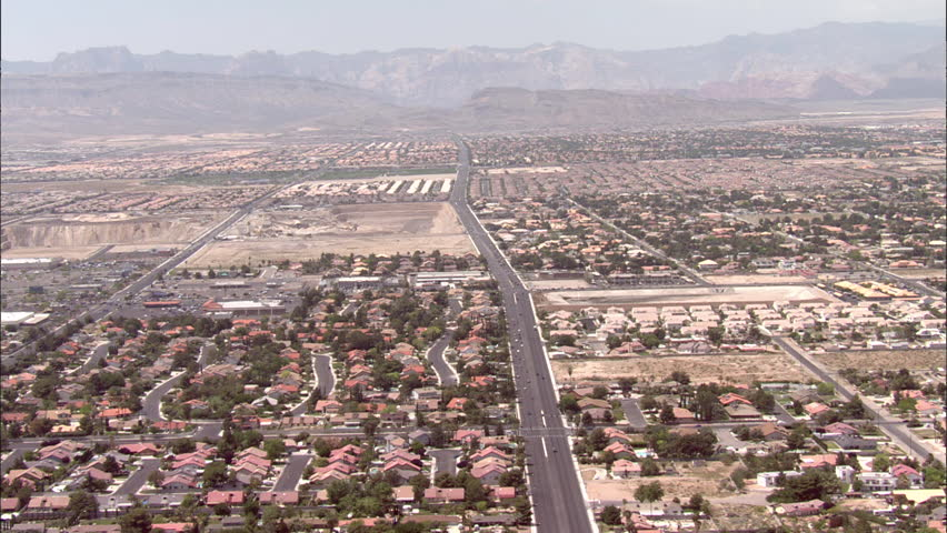 Las Vegas Houses Streets Cars. Pan over residential area in Las Vegas - HD stock footage clip