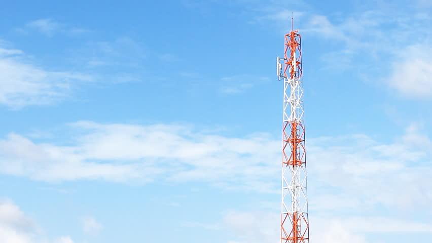 Telecommunication Mast Steel Tower - HD stock footage clip