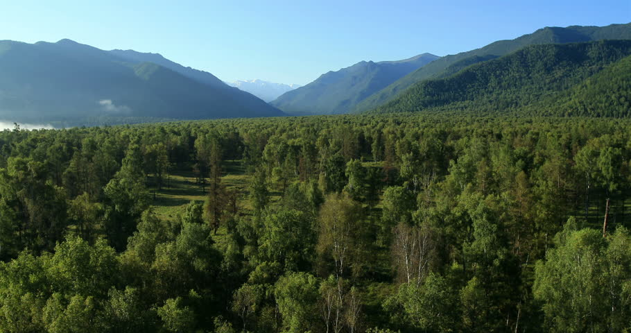 Flight over the Mountains. Altai. Siberia. Flying over the River. Forest Valley. Morning Fog #5497562