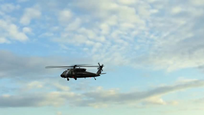 Military Helicopter Sikorsky UH-60 Black Hawk fly over