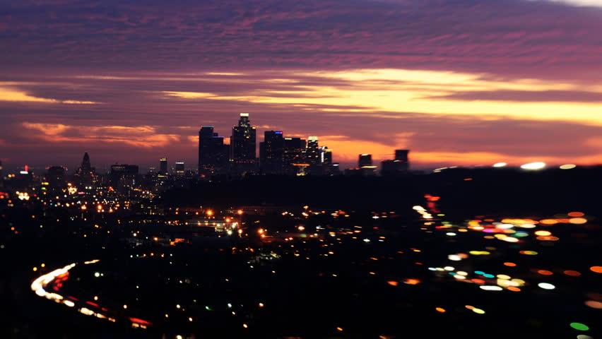 Tilt Shift Time Lapse of Downtown Los Angeles Twilight Cityscape