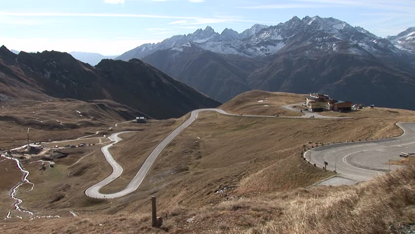 video footage of the high alpine road at the mountain Gro\xDFglockner in Austria (Gro\xDFglockner Hochalpenstra\xDFe) - HD stock footage clip