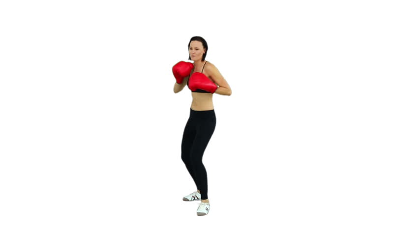 Fit brunette boxing with red gloves on white screen background - HD stock video clip