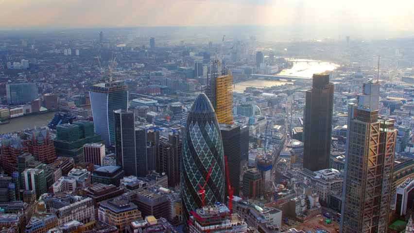 4K Aerial shot of Central London with view of the River Thames, The City Financial District, Liverpool Street, Gherkin, London Eye, Blackfriars, Tate Modern, St Paul's Cathedral