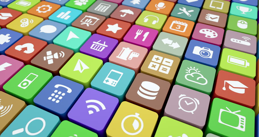 Icons of many apps move in a seamlessly looping pattern | Shutterstock HD Video #5534849