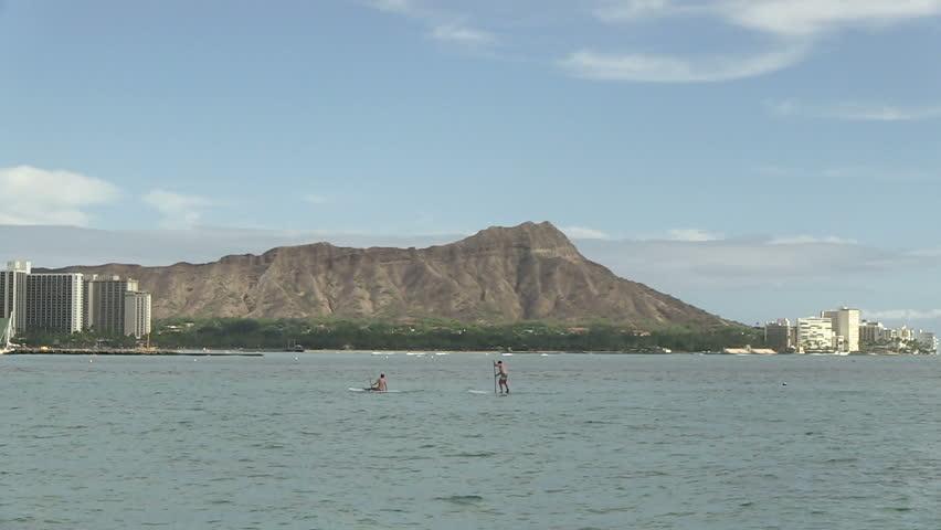 Diamond Head (View from Waikiki), Oahu, Hawaii, United States - HD stock video clip