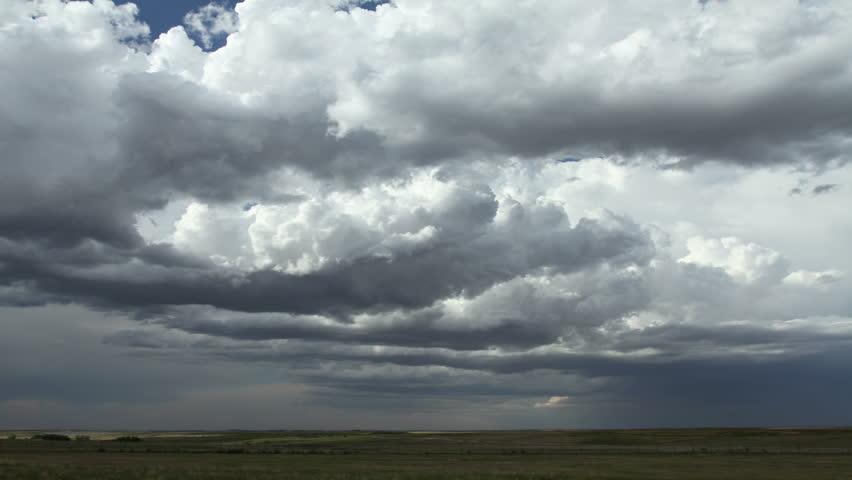 Massive thunderstorm clouds over rural eastern Colorado during tornado season. HD 1080p timelapse.