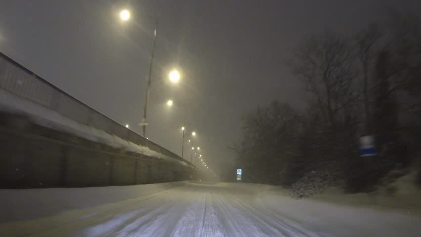 Night Drive On A Road With Snow In Winter, Romania - HD stock footage clip