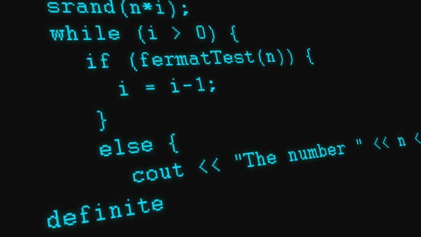 C++ programming code running down a computer screen terminal