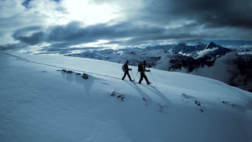 Winter sports resort. glacier mountain landscape. beautiful nature. snow walking. fly over | Shutterstock HD Video #5594348
