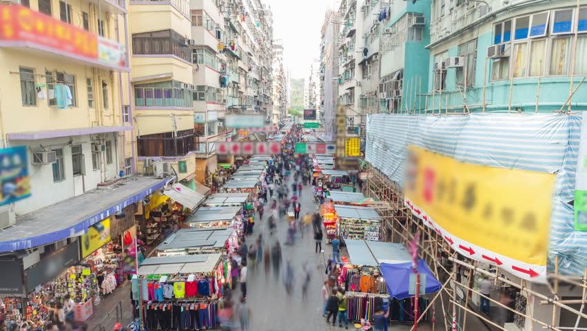 4k timelapse video of a street market in Hong Kong