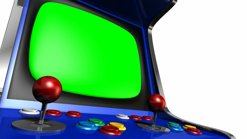 A pan around of a vintage arcade game with a joystick and a green screened monitor on an isolated white background   Shutterstock HD Video #5603384