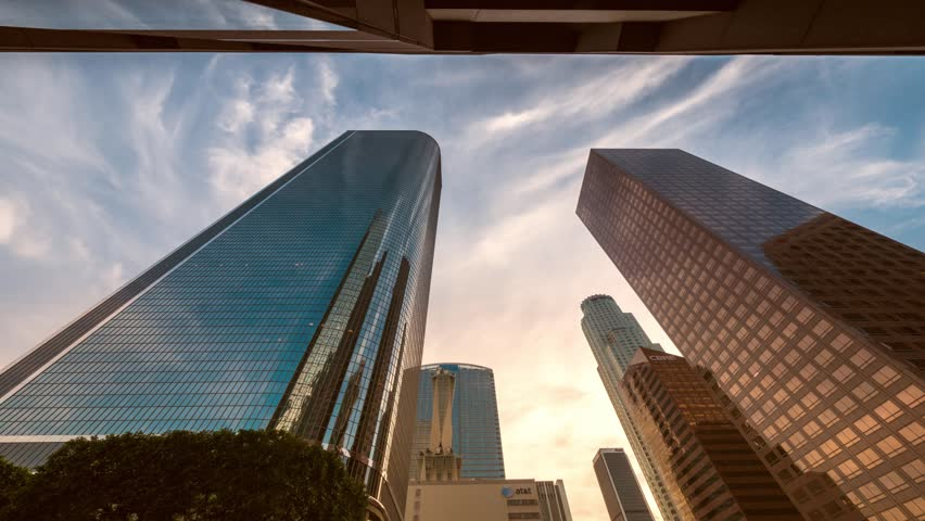 Downtown Los Angeles city buildings skyline at sunset. 4K timelapse. #5605499