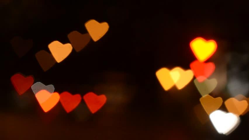 Bokeh Heart Shape Of Light Background Stock Footage Video