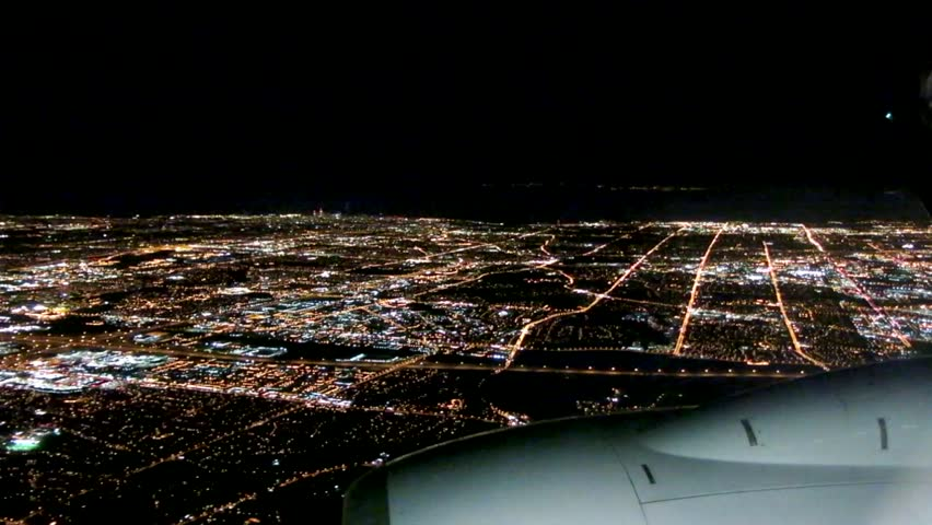 Airplane Approach City at Night, Window Seat View | Shutterstock HD Video #5629475