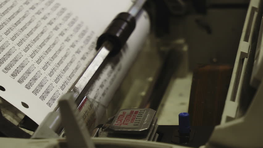 Dot Matrix Printer HD Stock Footage. A dot matrix printer close up printing a test sheet in Full HD. Color rec709.