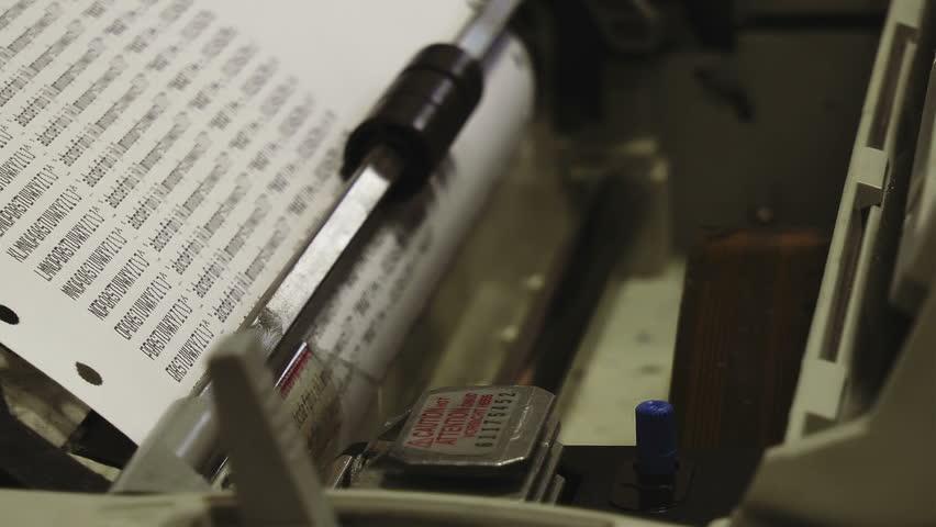 Dot Matrix Printer HD Stock Footage. A dot matrix printer close up printing a test sheet in Full HD. Color rec709.