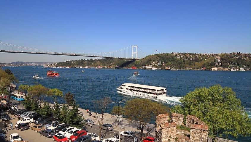 Bosphorus view from Rumeli Hisari, Istanbul, Turkey.