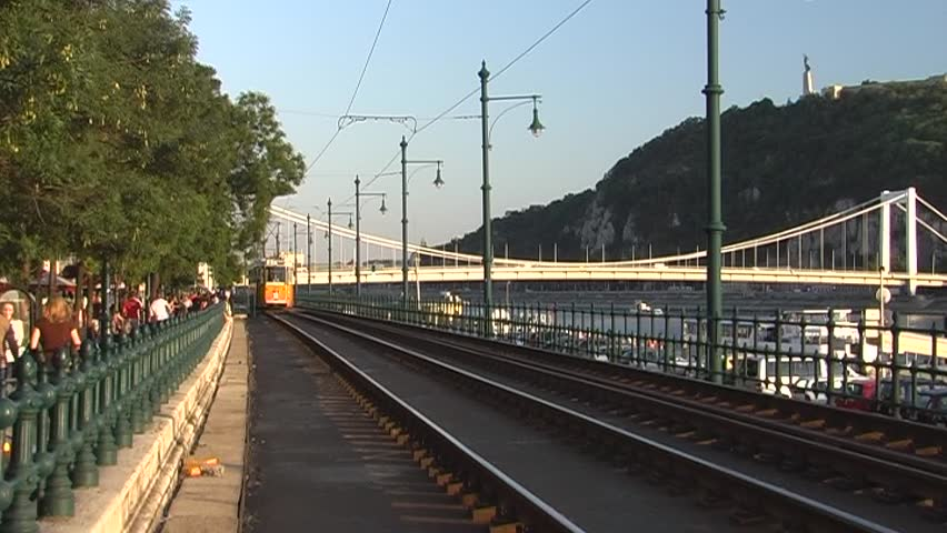 City Tram passing along the Danube river (Budapest, Hungary), 2 clips - good audio, DV 16:9 anam., Panasonic NV-GS 500