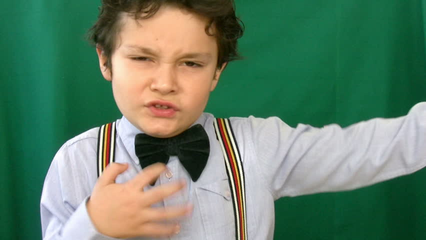 Child dancing in front of a green screen - HD stock video clip