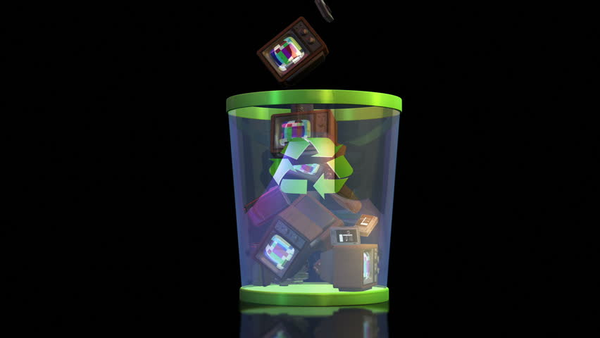Recycle your electronics, Vintage TV and cameras falling into a Garbage Bin against black - HD stock video clip