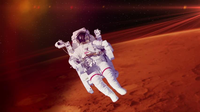 Astronaut Spacewalk by Mars - HD stock video clip