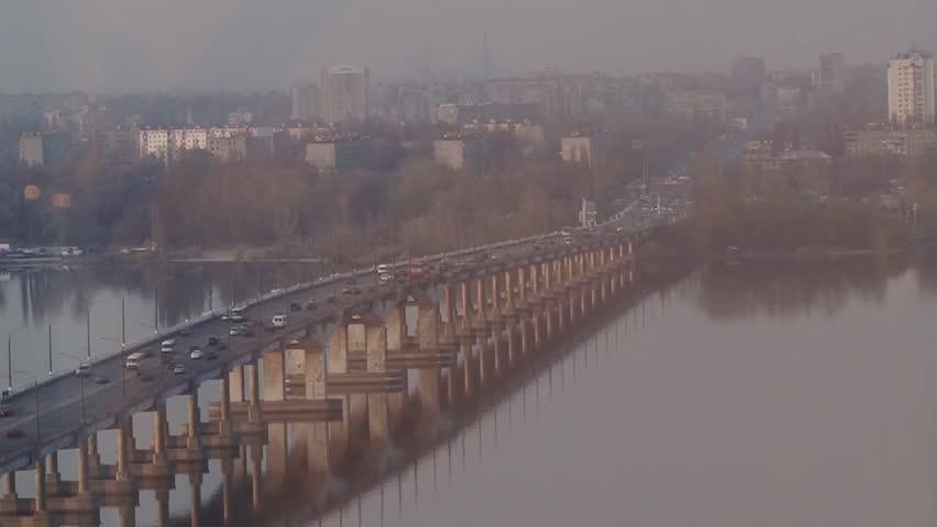 Evening traffic on the city river bridge   Shutterstock HD Video #5686202
