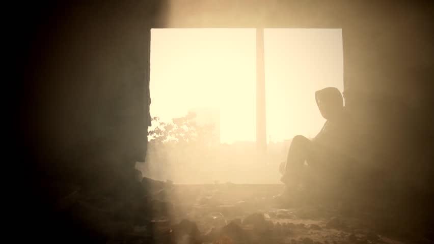 Depression Sadness Desperation Young Man Sunset