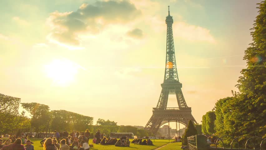 Paris timelapse with Eiffel Tower in June - HD stock video clip