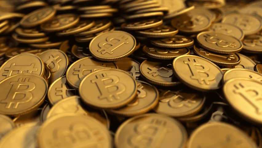 Close up of a symbolic slow rotating golden Bitcoin pile with depth of field blur, 3D rendered animation