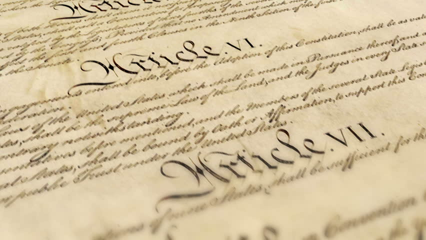 A seamless loop of images of the US Constitution moving gracefully by the camera. Ideal for historical videos, news pieces, or patriotic videos.