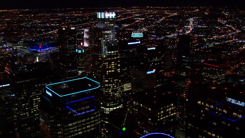 Los Angeles Downtown Night. This clip is an aerial shot tracking over downtown Los Angeles at night.