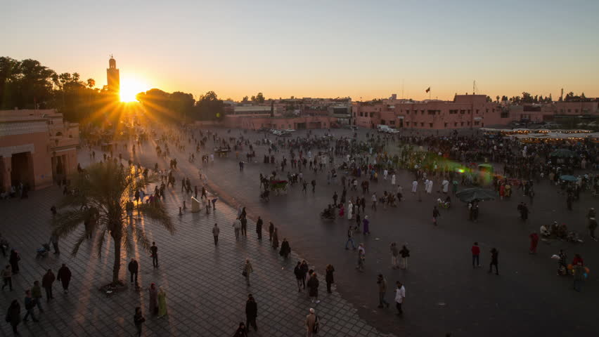 Timelapse wide shot of imperial city of Fes at Marrakesh, Morocco